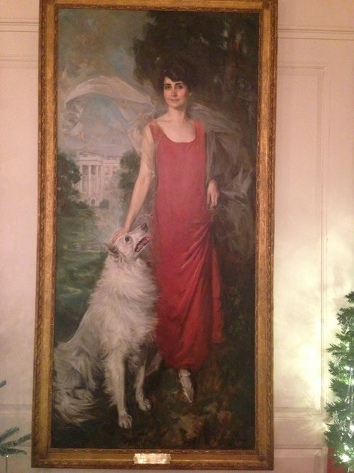 Grace Coolidge with her beloved white collie, Rob Roy