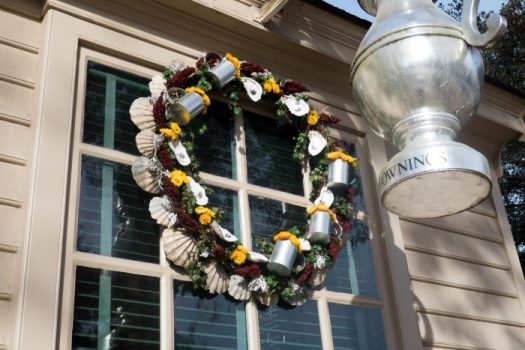 Outside Chownings Tavern is a wreath constructed with oyster shells
