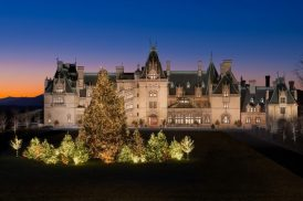CHRISTMAS Facade with outdoor tree in full lighting. Bonesteel crew lighting house interior and exterior.