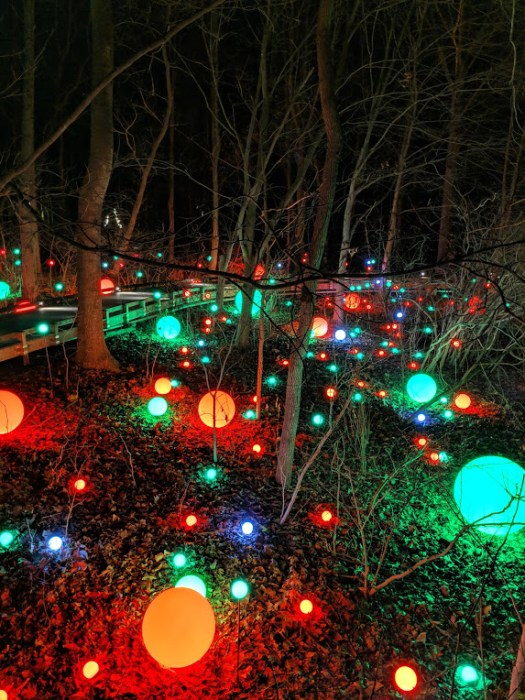 Outdoor orbs lit up and changed colors, photo by Laura Jones