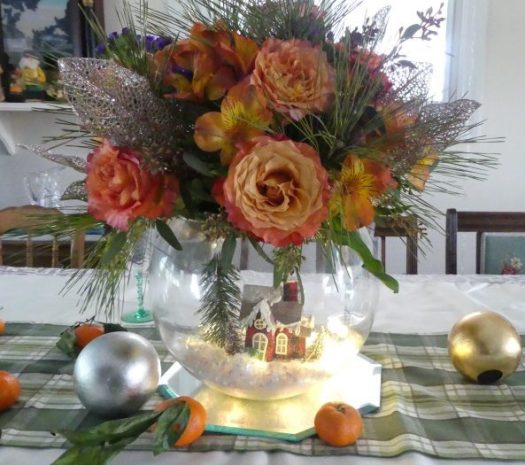 Centerpiece on table runner