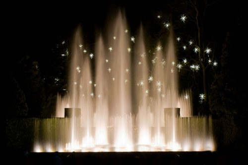Fountains against background of lights is magical