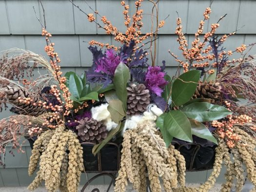 I have reused an old planter as a smorgasbord with pine cones smeared with peanut butter, wool for nests, and millet branches