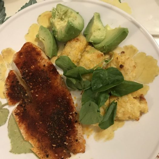 Cauliflower gnocchi served with microgreens, avacado and a slab of tilapia makes a complete meal