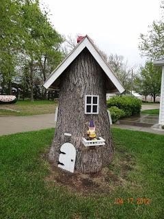 Tree stump gnome house
