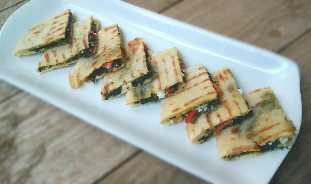 Mini Tramezzini with Creamed Spinach, Feta and Sweet Pepper