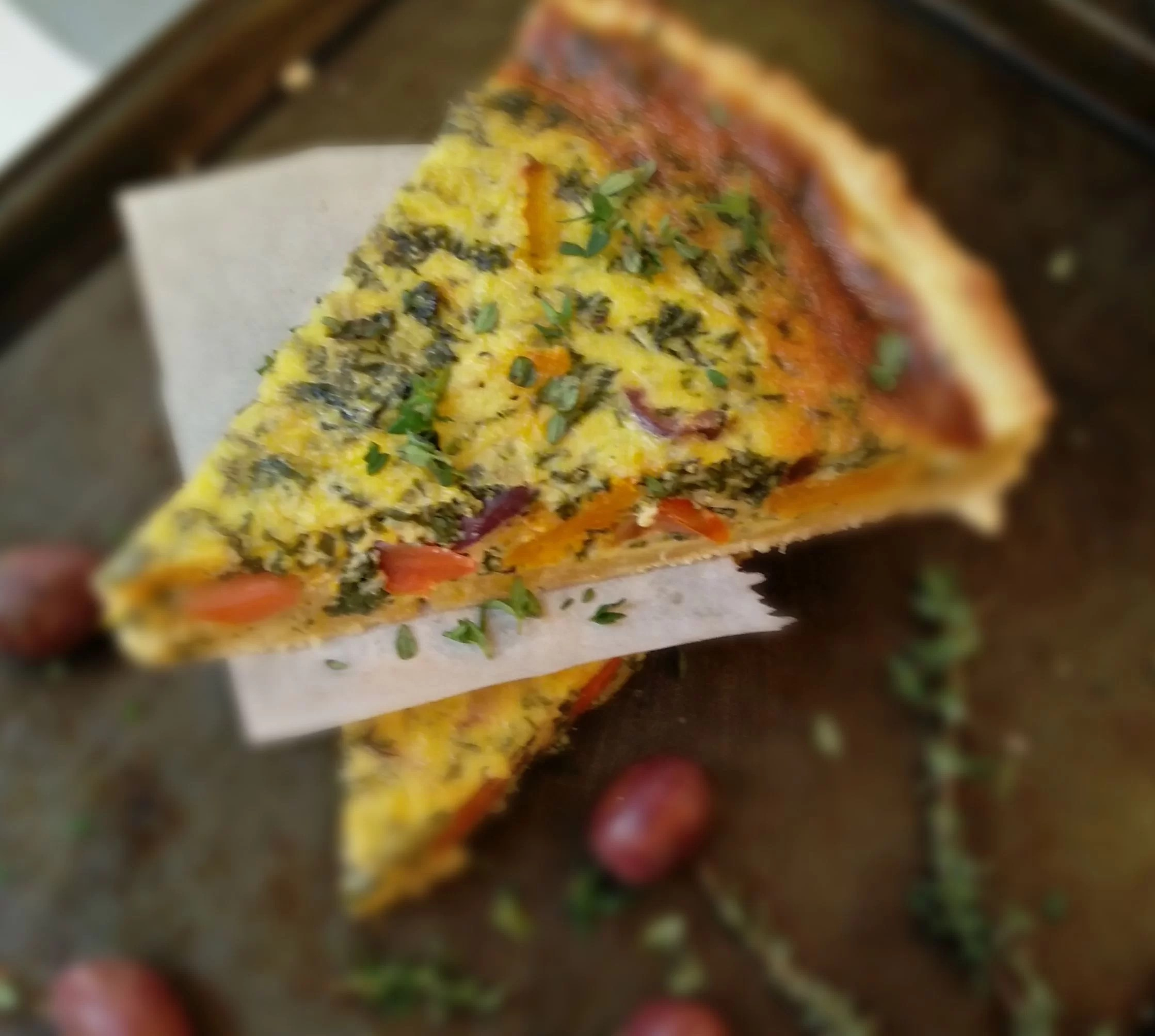 Roast Butternut and Spinach Quiche with olives