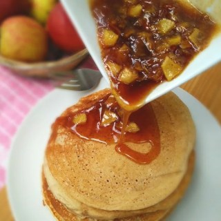 Pancakes with Warm Apple and Cinnamon Syrup