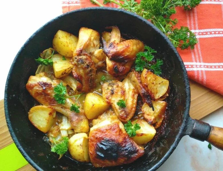 Honey Mustard Roast Chicken with Potatoes and Onions