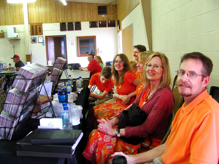 """Everyone """"chilling"""" behind the table at Neillsville."""