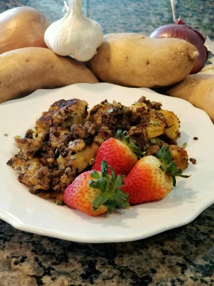 Paleo AIP Beef and White Sweet Potato Breakfast Hash