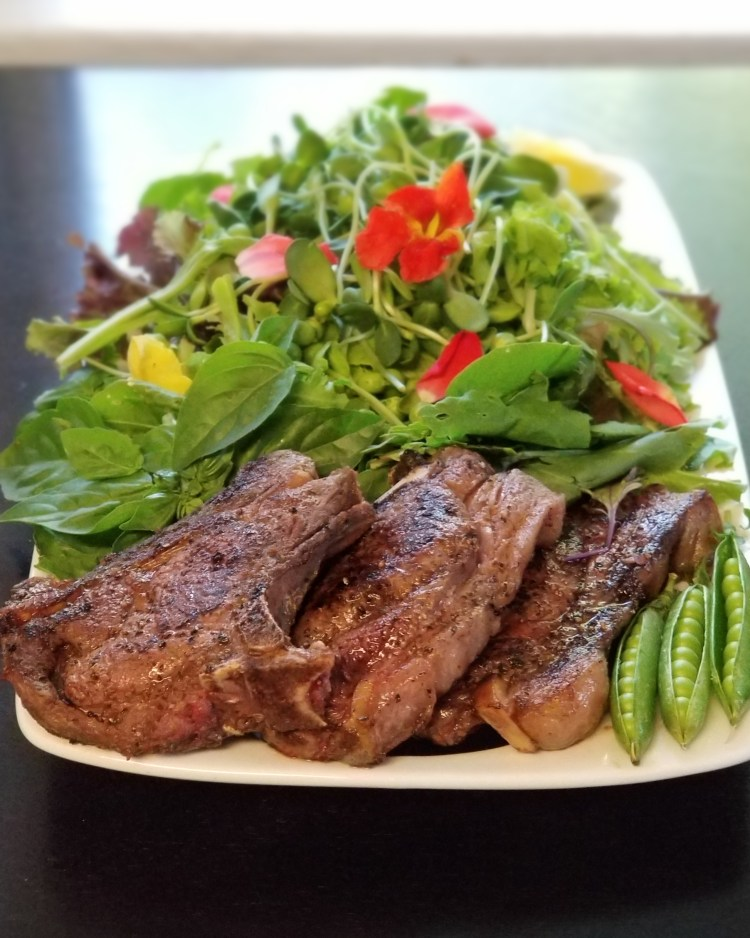 Salt Lake City UT Farmer's Market Find - llama chops with fresh herb salad
