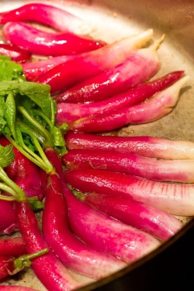 Warm Radish Salad with Bacon and Pea Tips-8326