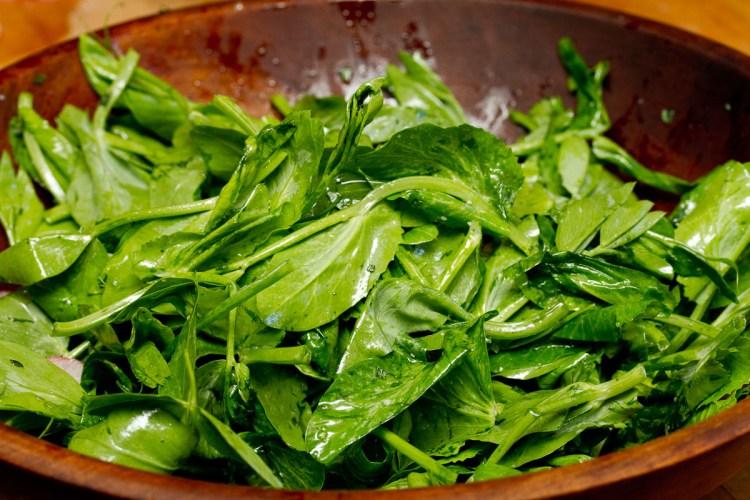 Warm Radish Salad with Bacon and Pea Tips-8350