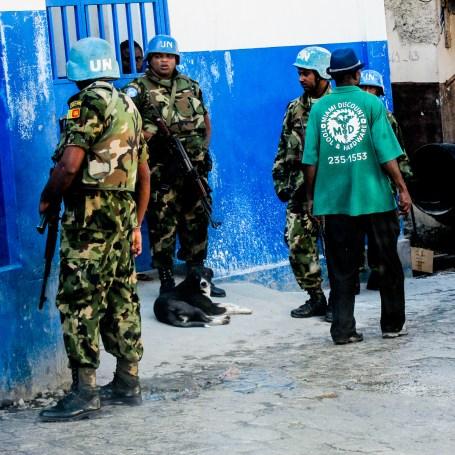 UN troops near Mirebalais.