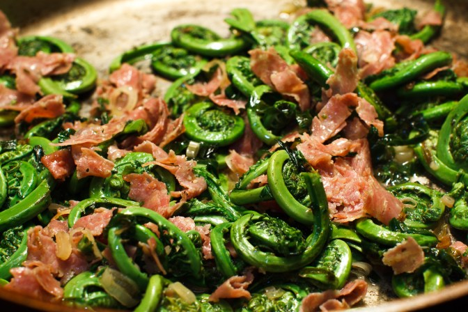 Fiddleheads and Ramps with Salami-14
