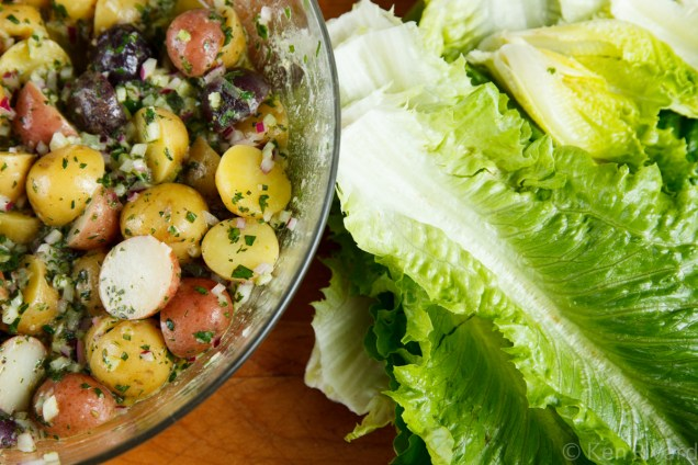 Potato Salad with Wilted Lettuce and Dijon Vinaigrette-0617