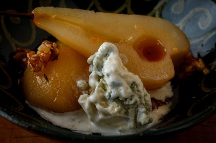 Poached Pears with Honey Walnuts and Roquefort Ice Cream-1823