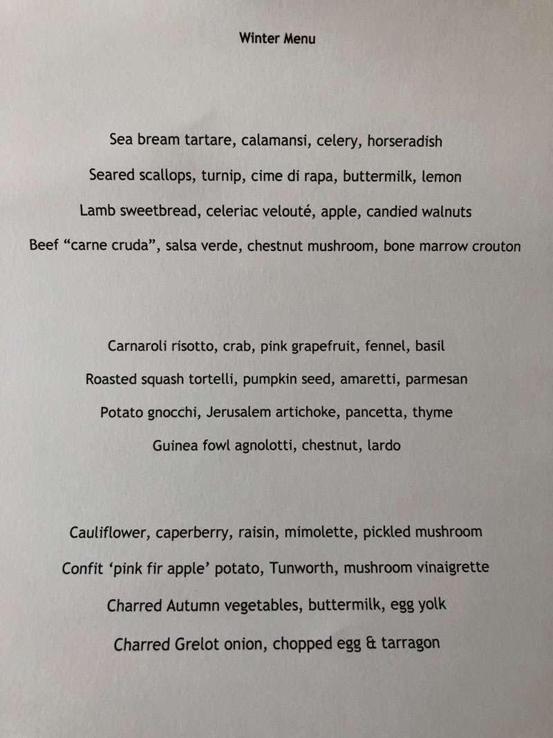 The a la carte Winter menu