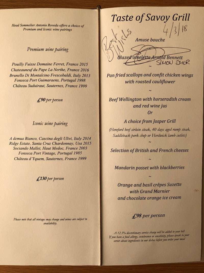 The Taste of Savoy Grill menu and wine pairings
