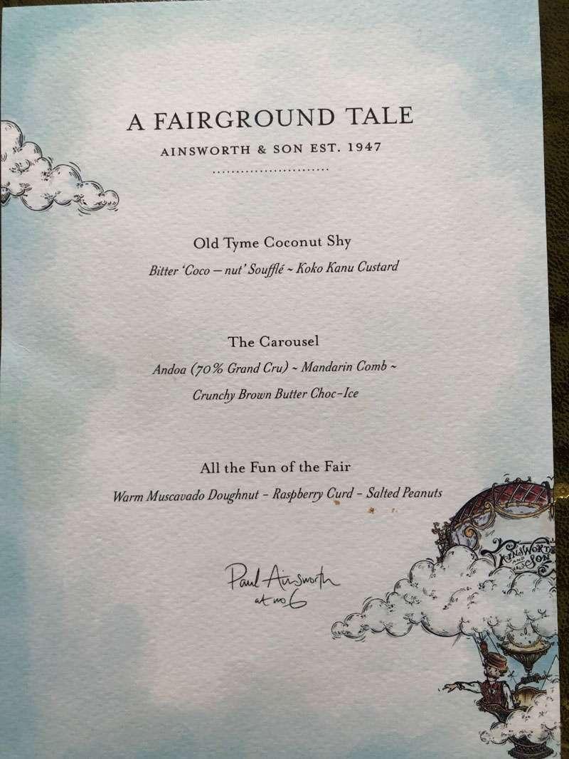 The fairground tale dessert menu