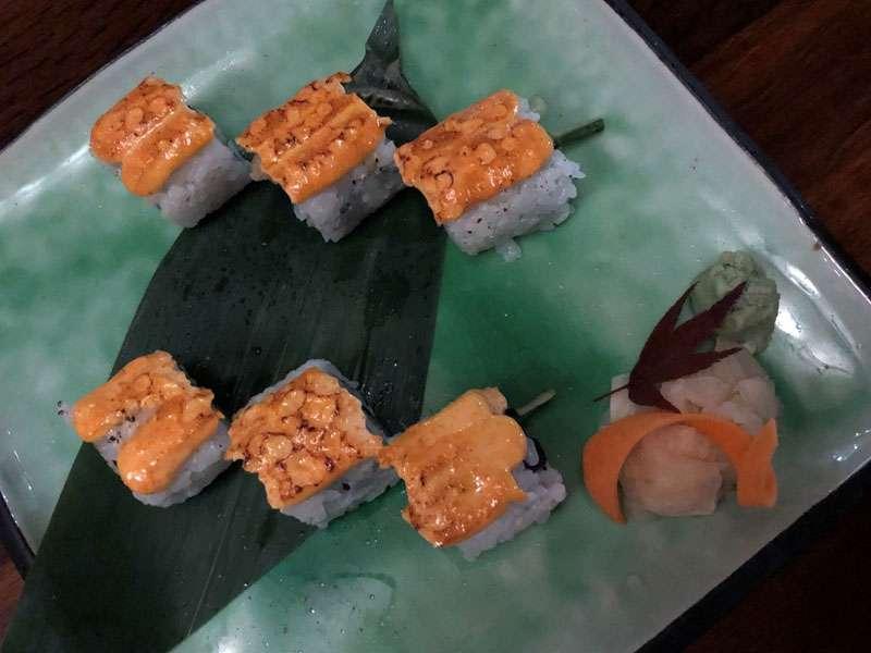 Popcorn shrimp maki roll