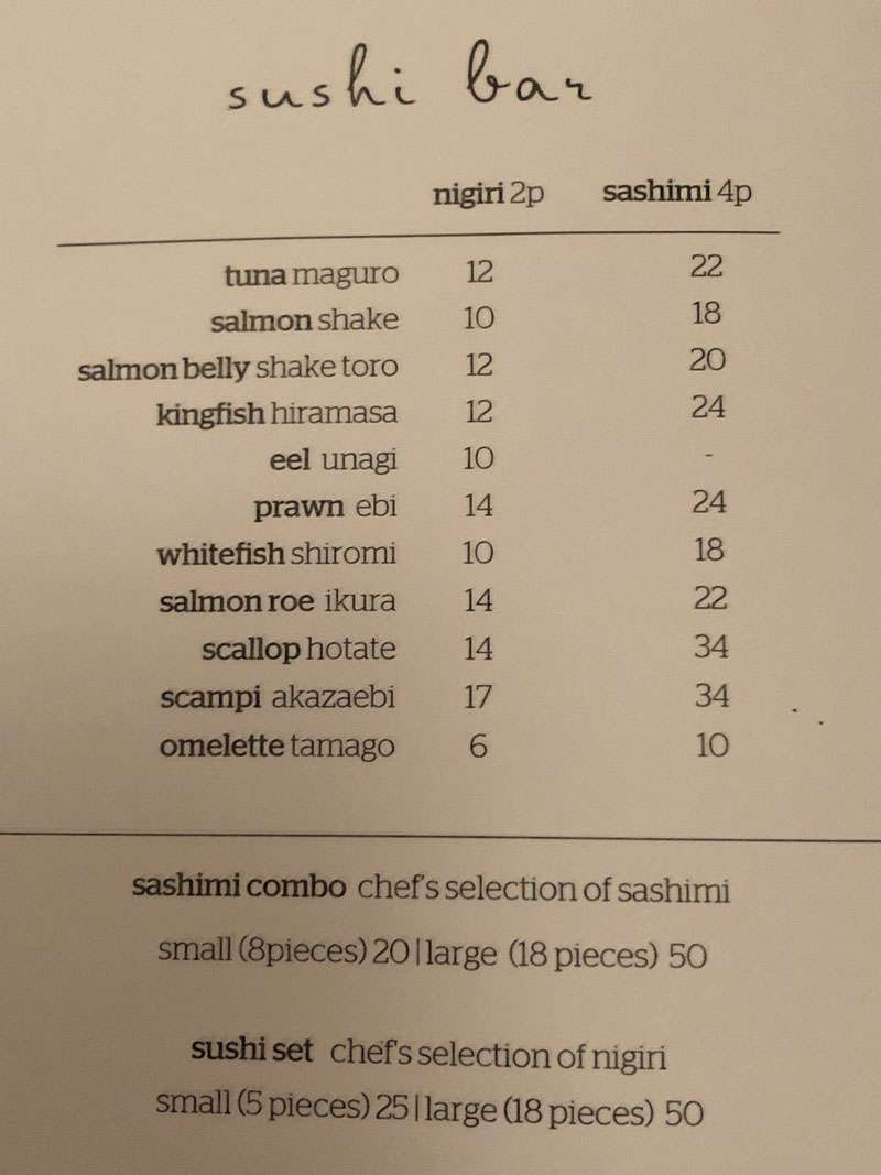 The sushi bar menu from the a la carte offering