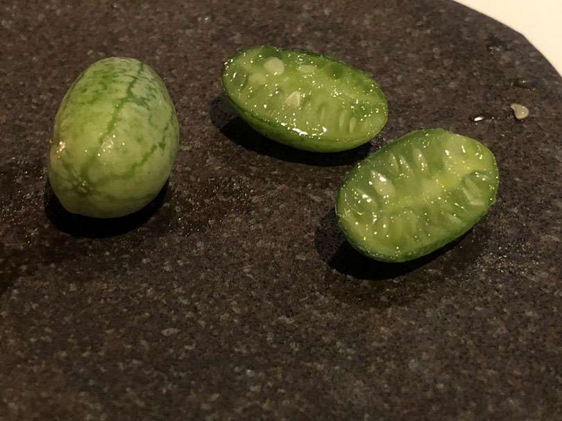 The cucamelon is a cross of a cucumber and melon