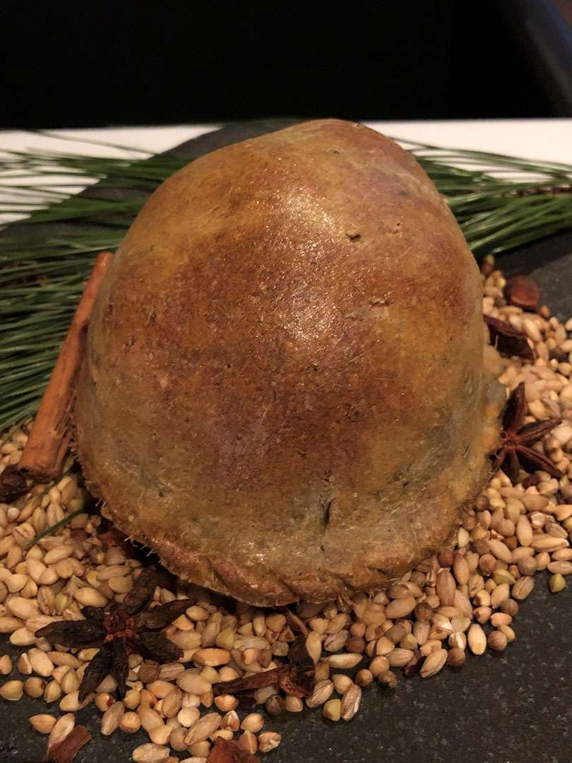The quail was baked in a pastry case with rosemary
