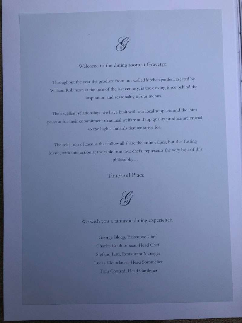 The front page of the menu
