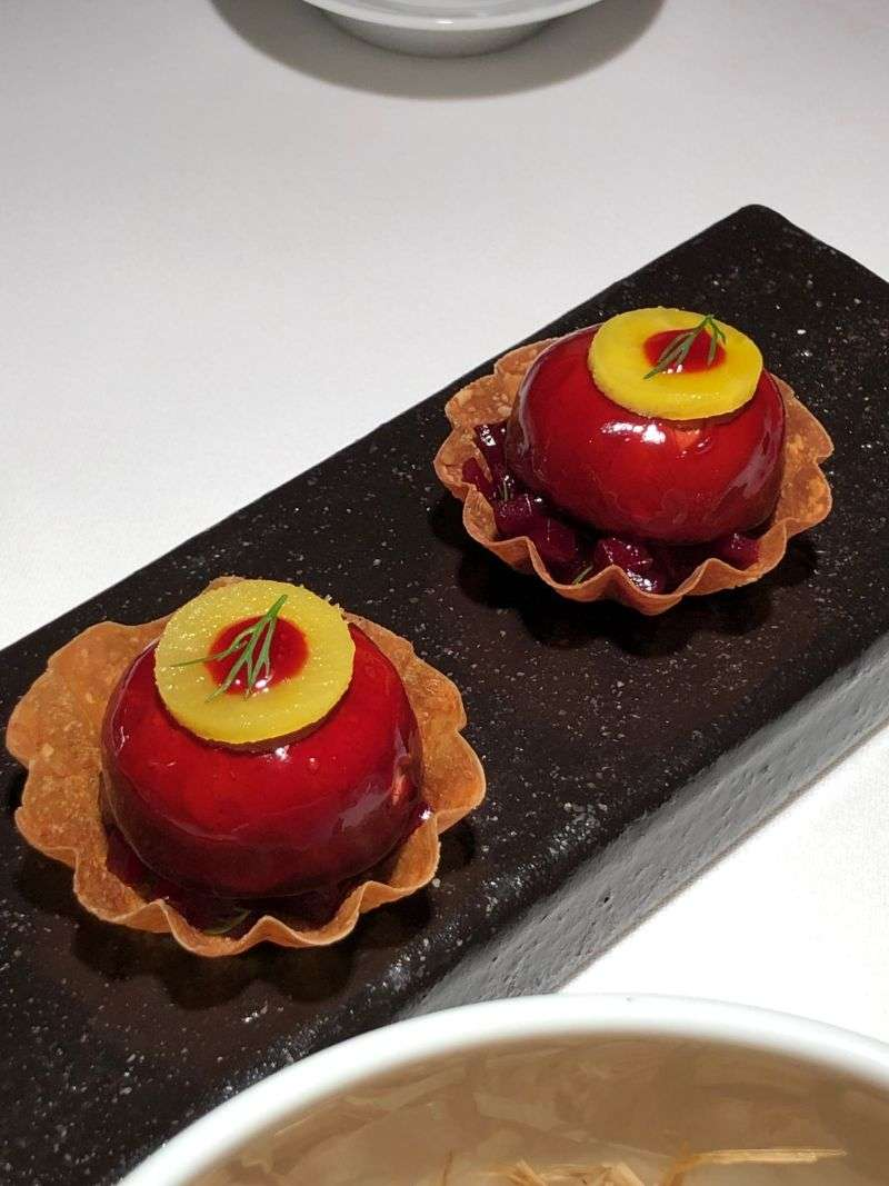 Goat's cheese and beetroot jelly tartlet amuse bouche