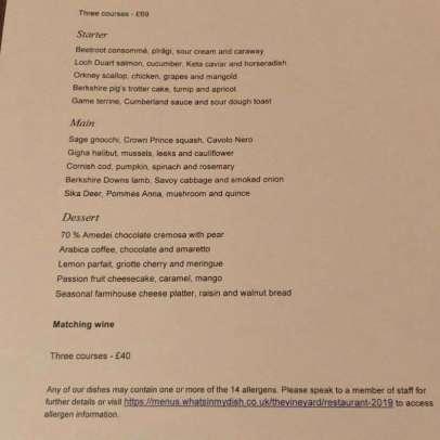 The Gastronome Dines - The Vineyard Hotel, Stockcross, Newbury, Berkshire