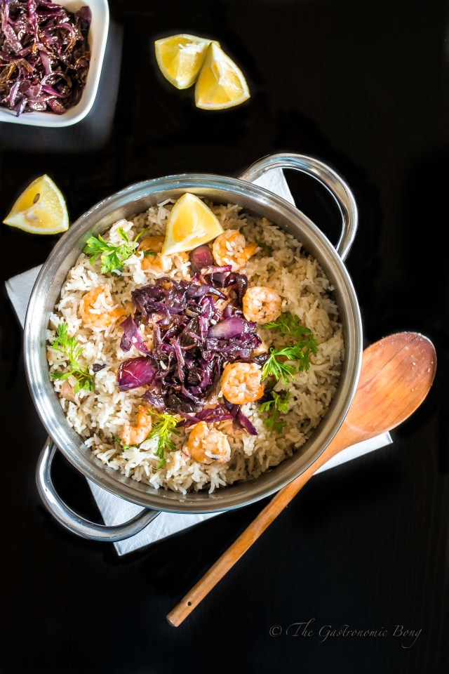 One Pot Coconut Rice with Prawns topped with Caramalised Onions