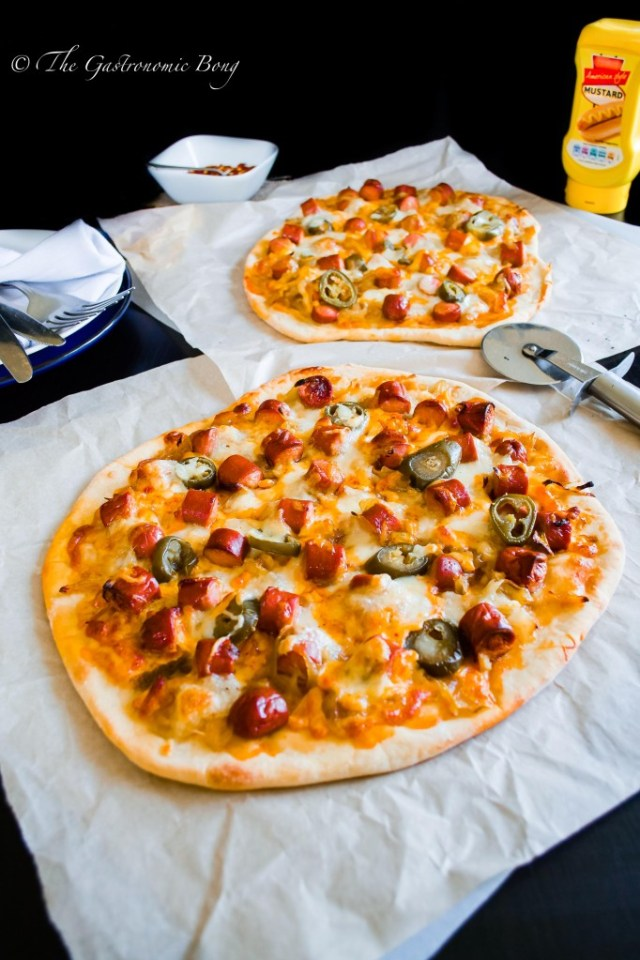 Easy-Peasy Hotdog Pizza with Caramelised onion and Jalapenos10