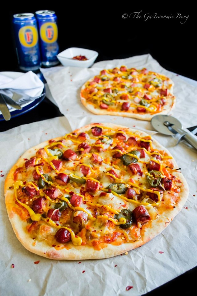 Easy-Peasy Hotdog Pizza with Caramelised onion and Jalapenos2