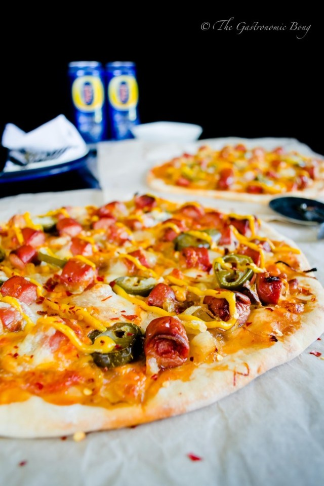 Easy-Peasy Hotdog Pizza with Caramelised onion and Jalapenos8