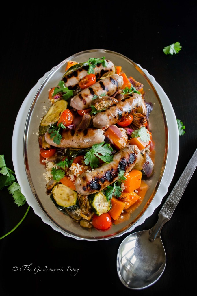 Summer Vegetables and Honey-Glazed Sausages with Couscous1