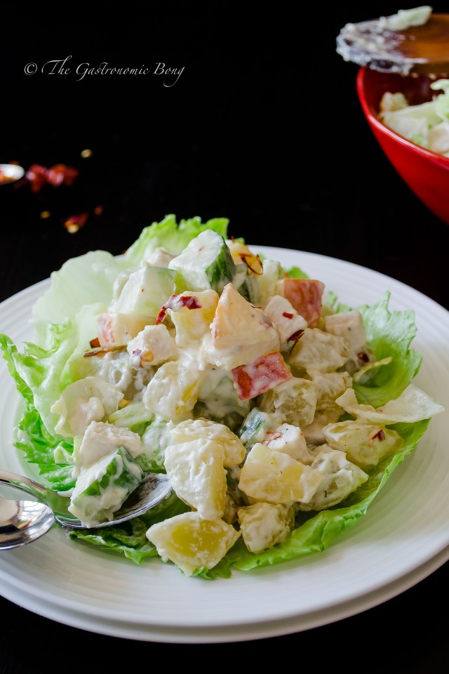 potato salad with chicken, apple and pineapple5