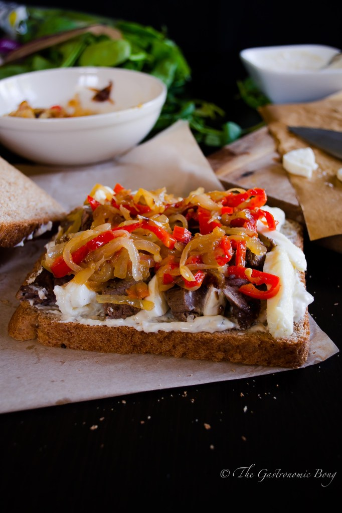 Grilled Steak Sandwich with Gorgonzola and Mozzarella Cheese