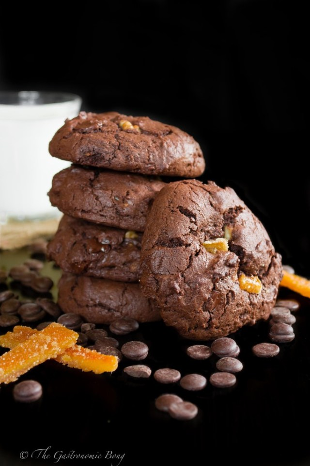 Double Chocolate Brownie Cookies with Walnuts and Candied Orange Peel6