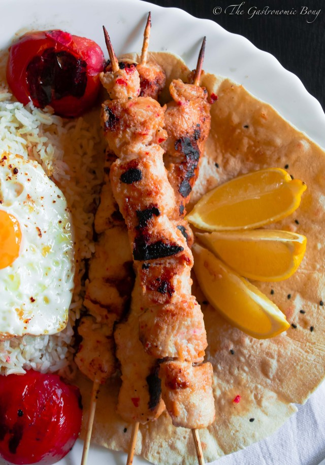 Persian Joojeh {Chicken} Kebab on a bed of Chelo, Fried Egg and Salad Shiraza5