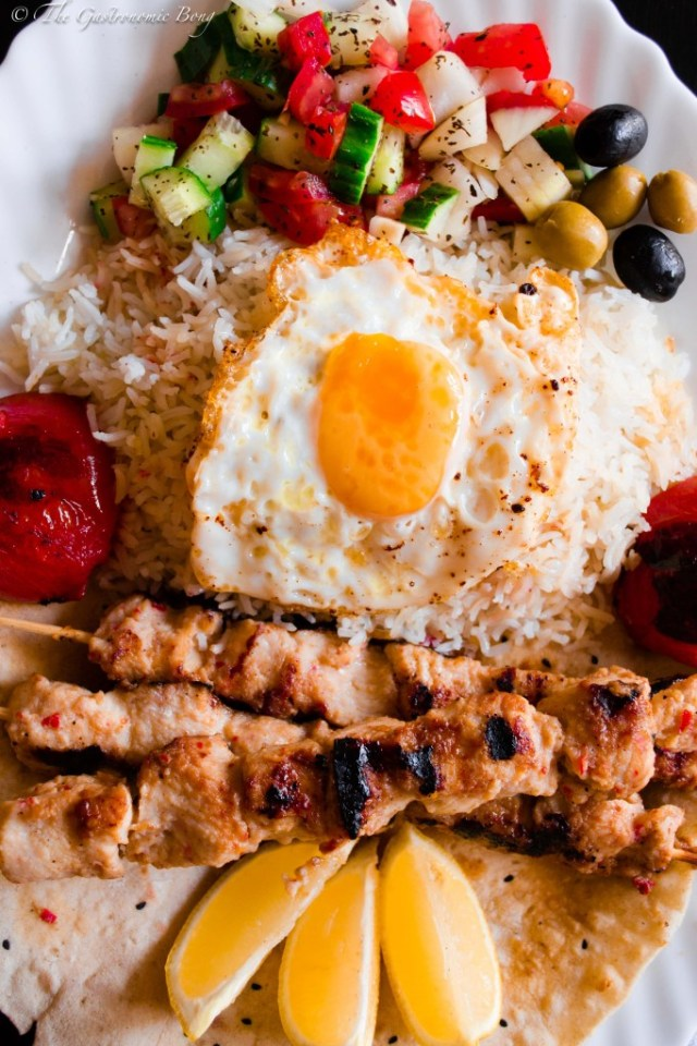 Persian Joojeh {Chicken} Kebab on a bed of Chelo, Fried Egg and Salad Shiraza6