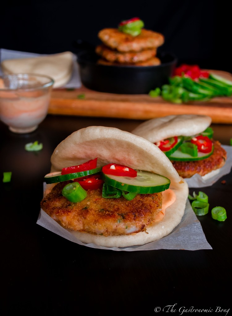 Crispy Prawn Cakes in Steamed Folded Buns w/ Spicy Sriracha Mayo