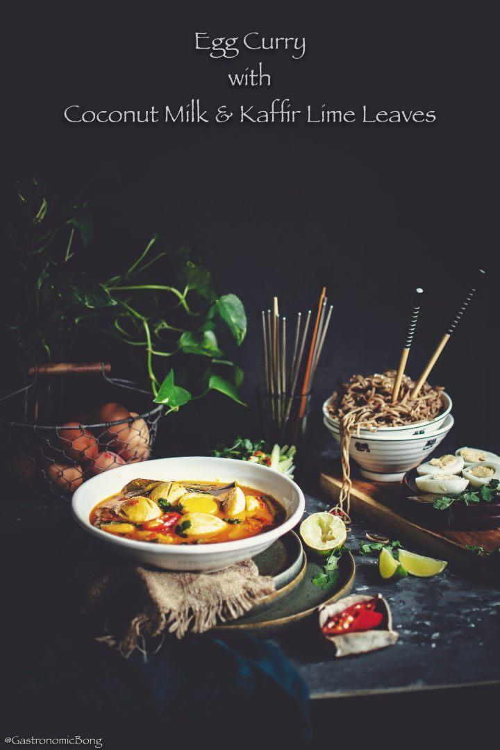 Egg curry with Coconut Milk Kaffir Lime Leaves