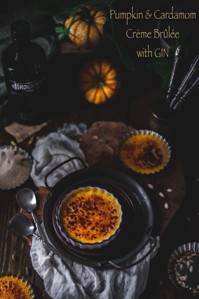 Pumpkin Cardamom Creme Brulee with gin