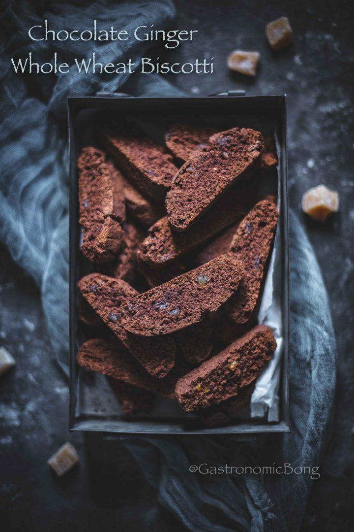 Chocolate Ginger Whole Wheat Biscotti