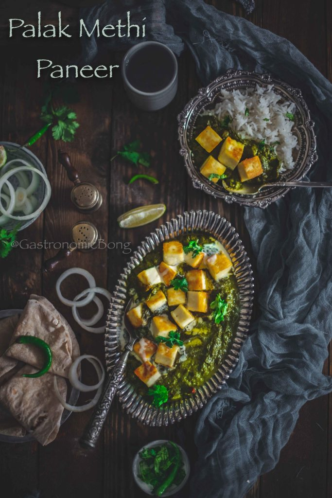 Palak Methi Paneer (Spinach and Fenugreek leaves with Cottage Cheese)