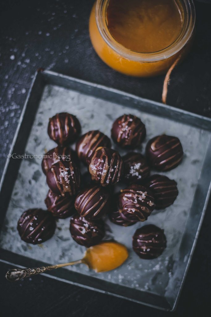 Parle-G Chocolate truffles with salted caramel