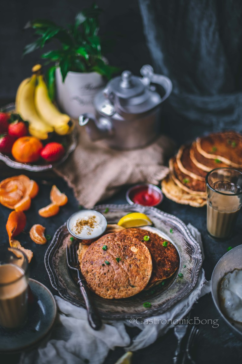 Savoury Paneer and Veggies Multigrain Pancakes