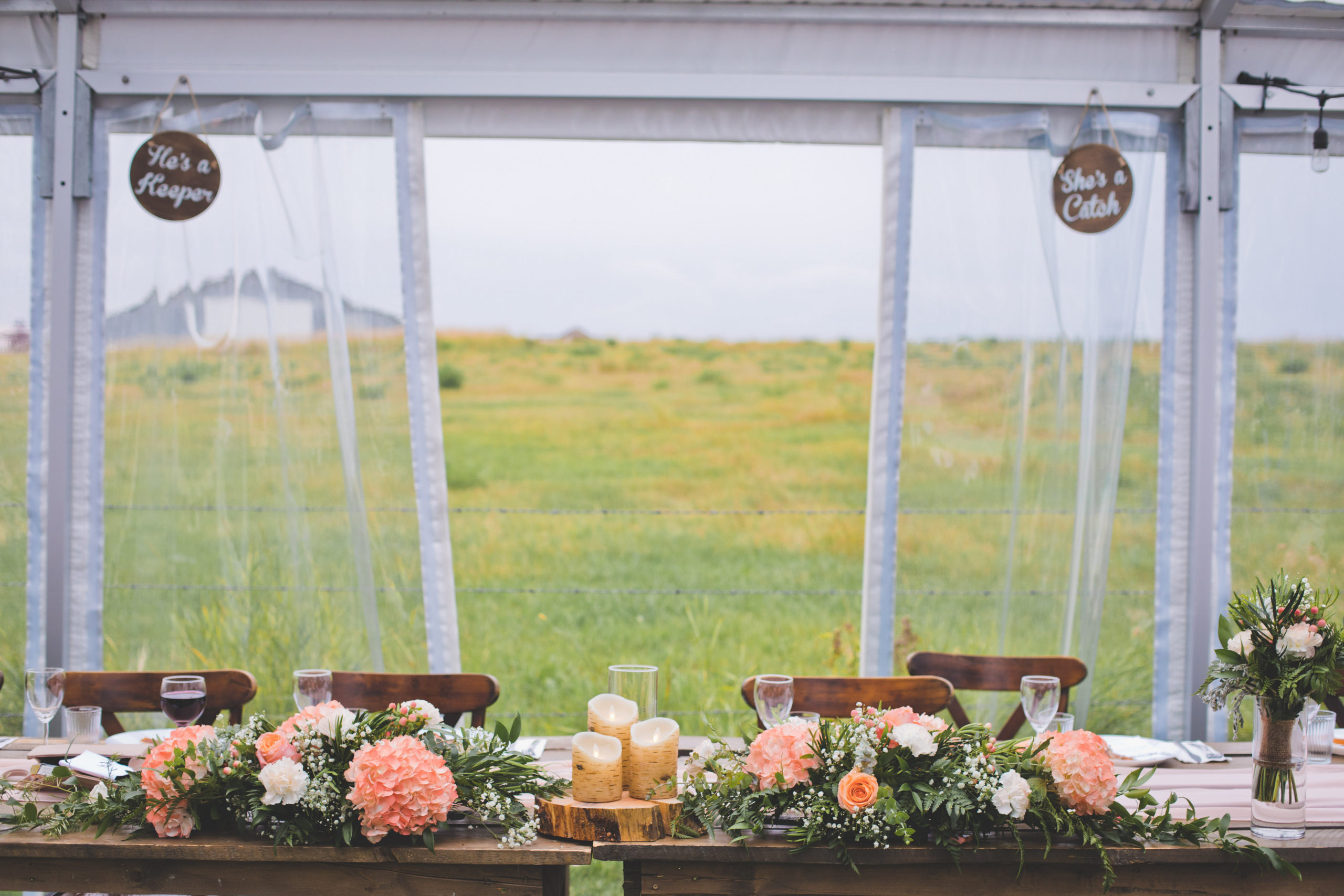 vibrant pink hydrangeas and greenery line the wooden head table with a prairie field in the background for this outdoor prairie wedding.